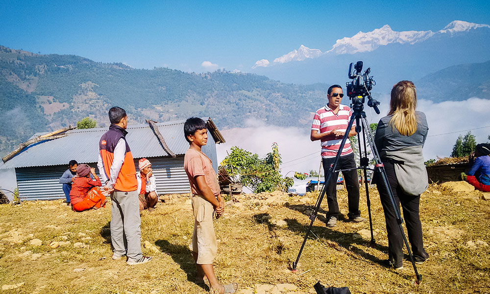 Interviewieing for INF's work in Lamjung