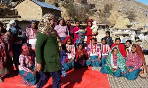 Community-health-and-development-work-in-Jumla-Samjhana-participating-in-one-of-the-mother's-group-meetings-in-Jumla
