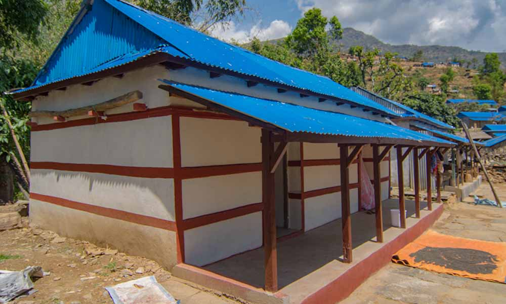 Earthquake resistant house built by INF at Muchok, Gorkha